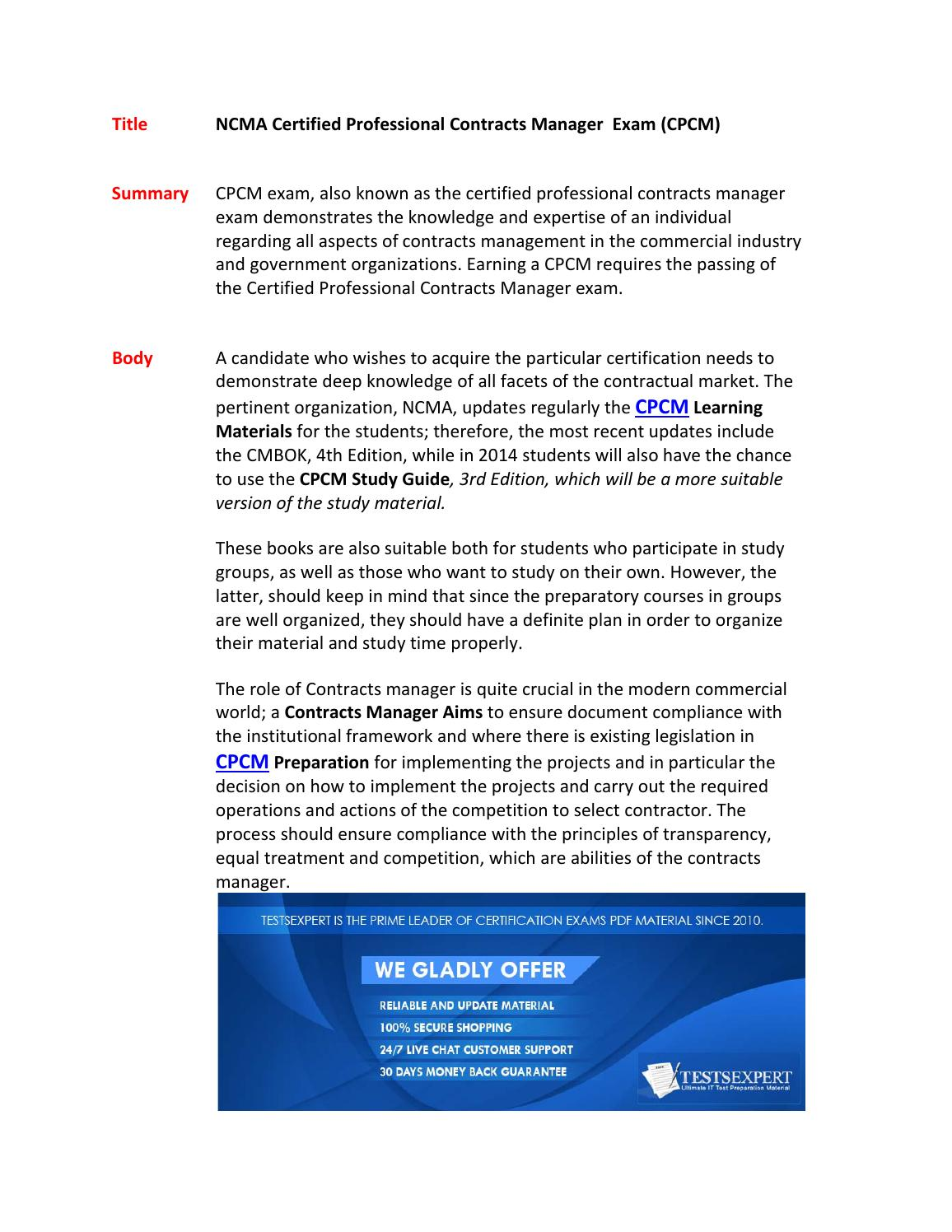 Cpcm Certification Test By Johnstucky98 Issuu