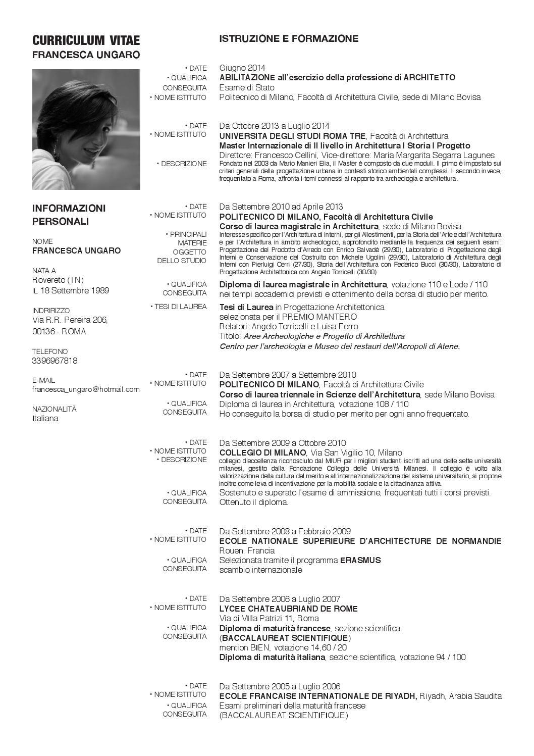 CV Francesca Ungaro By Francescaungaro Issuu
