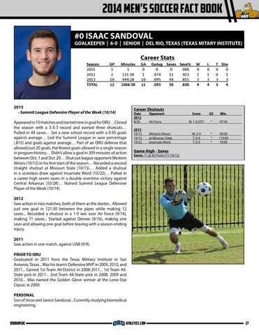 c10707d2f82e93 2014 Oral Roberts Men s Soccer Fact Book by ORU Athletics - issuu