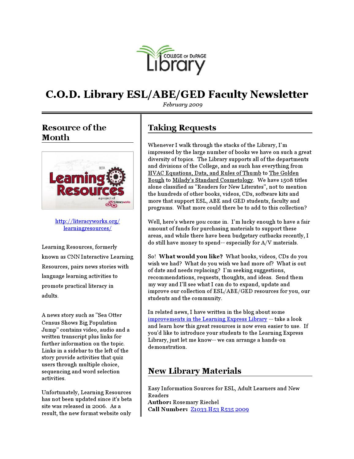 COD Library ESL/ABE/GED Faculty Newsletter: 02/09 by Jennifer Kelley