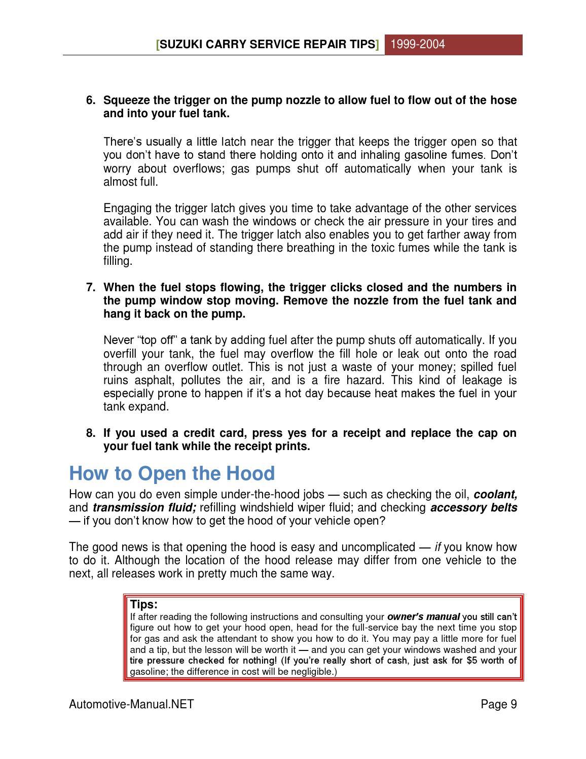 Suzuki Carry 1999-2004 Service Repair Tips by Armando Oliver