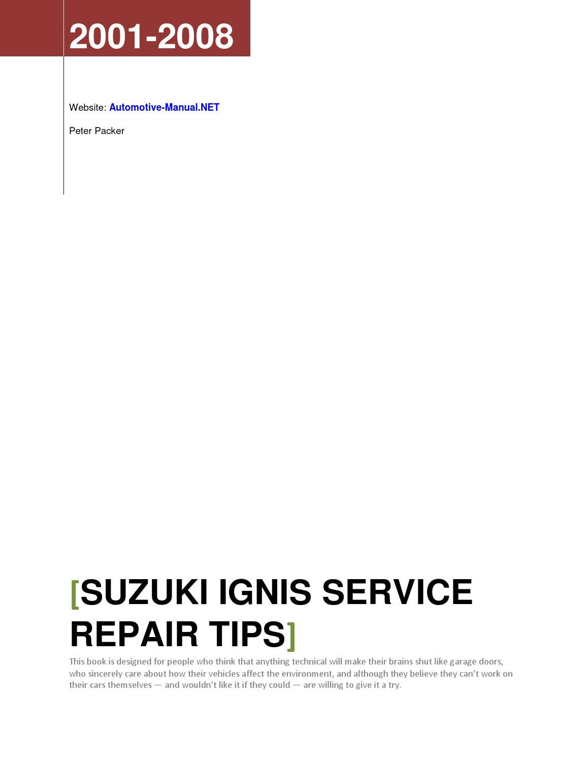 page_1 suzuki ignis 2001 2008 service repair tips by armando oliver issuu suzuki ignis sport wiring diagram at crackthecode.co