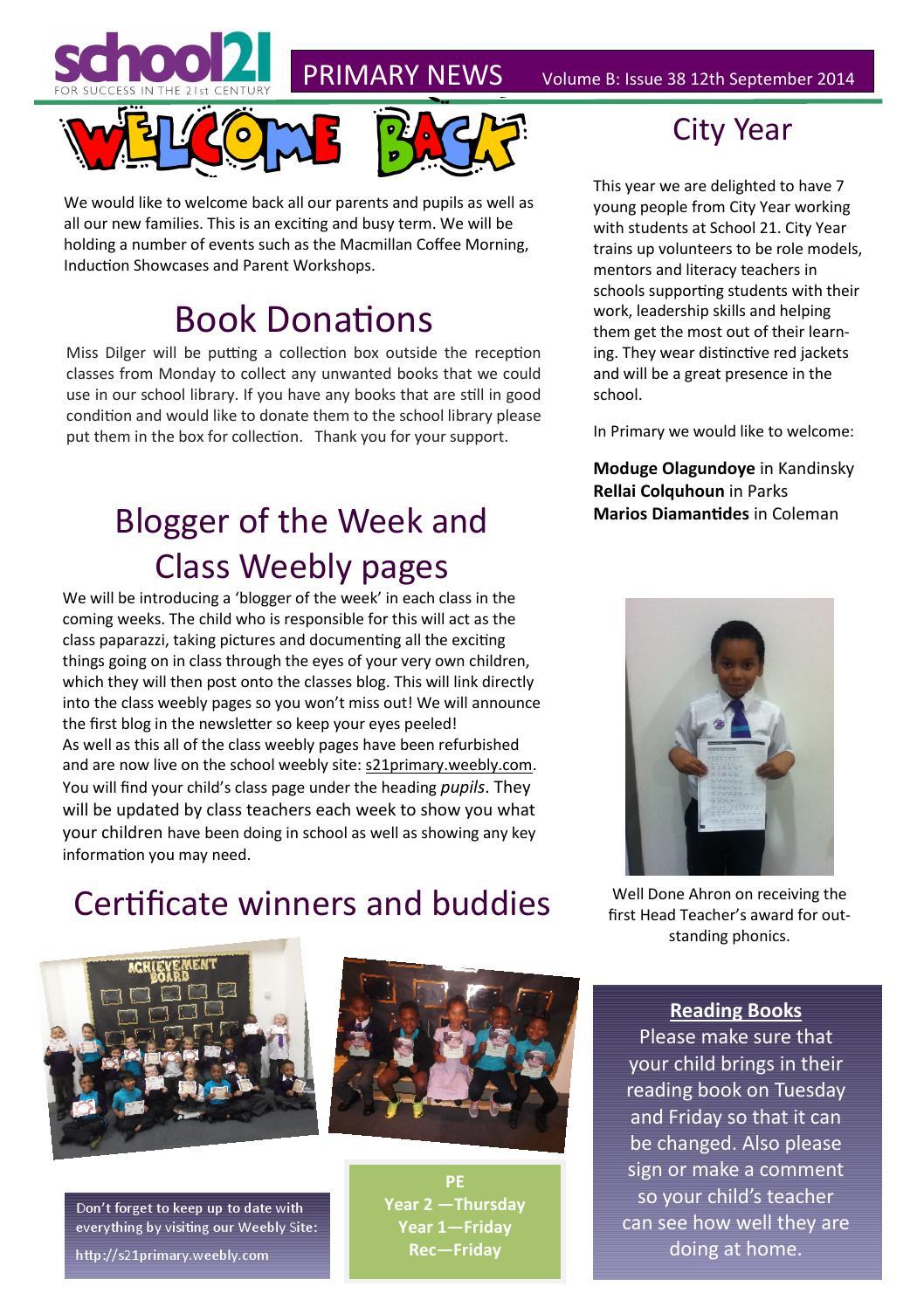 37 primary newsletter 11 07 14 ( 2) (1) by School 21 - issuu