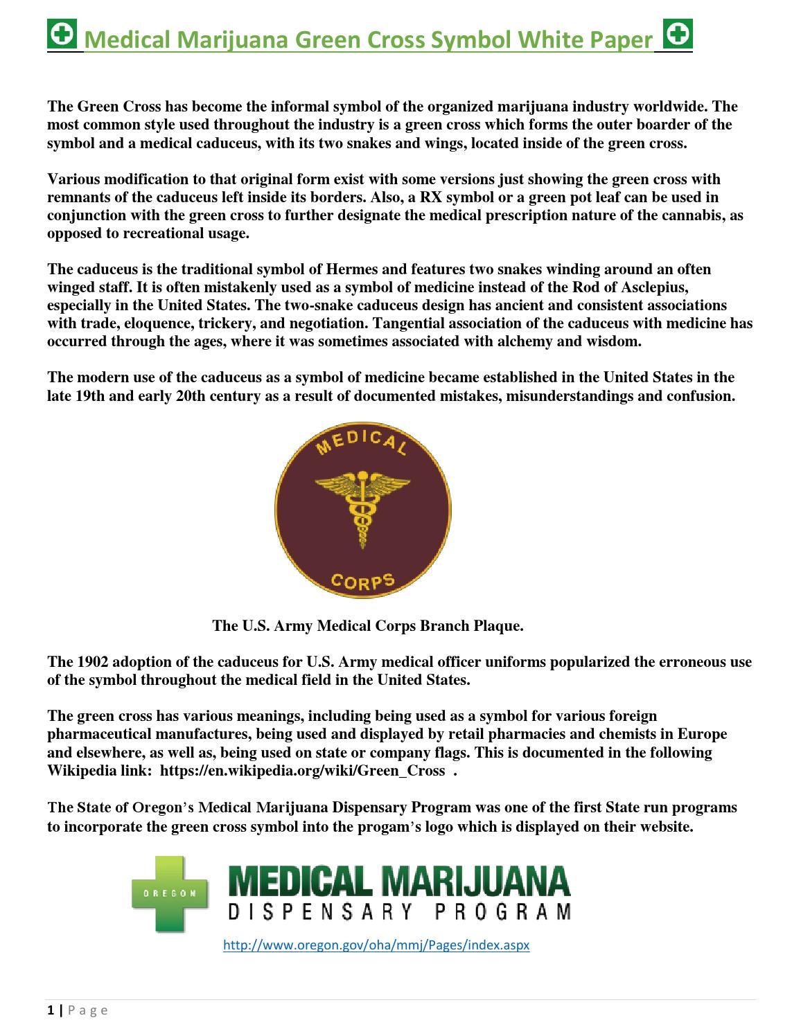 Medical Marijuana Green Cross Symbol White Paper By Green Cross Issuu