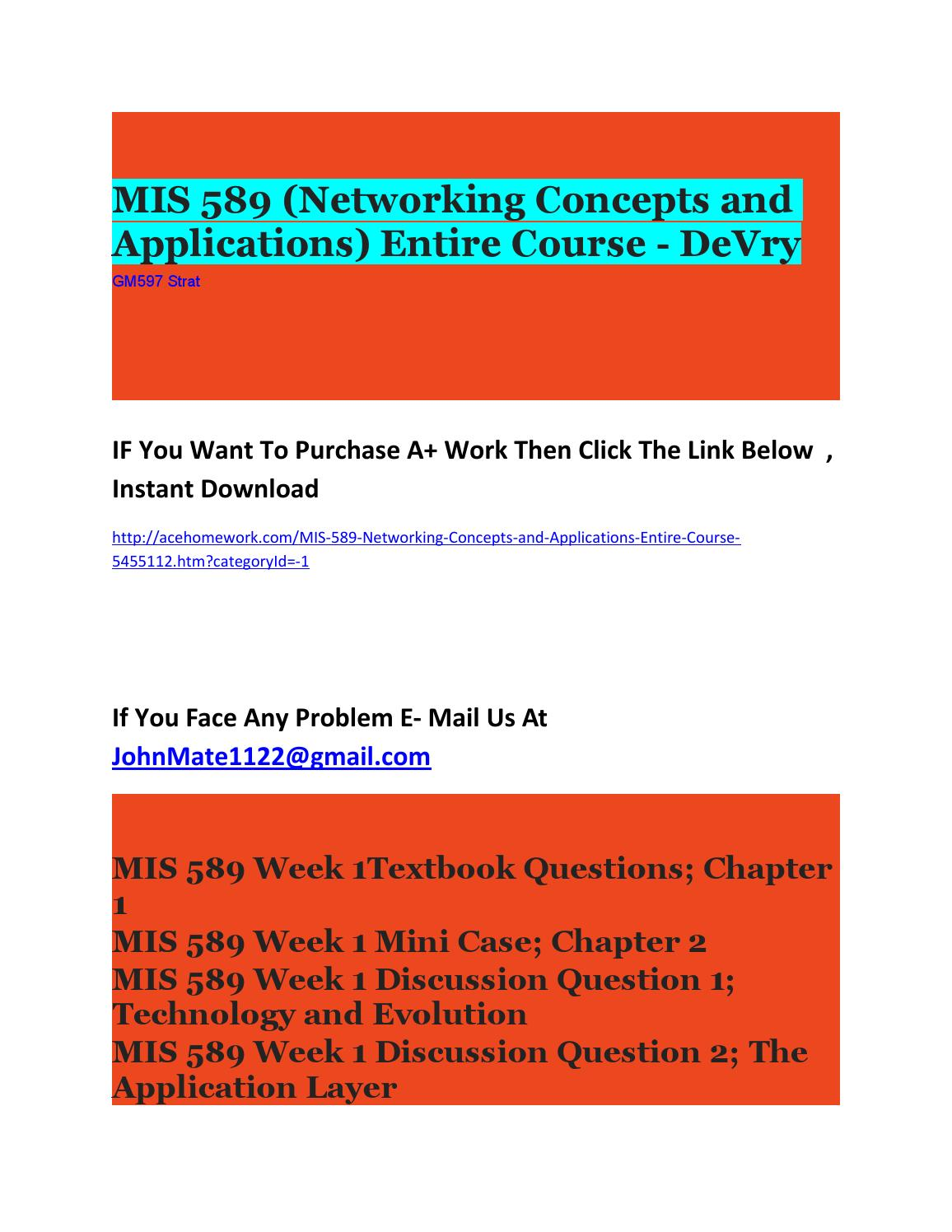 MIS 589 Networking Concepts and Application Complete Course