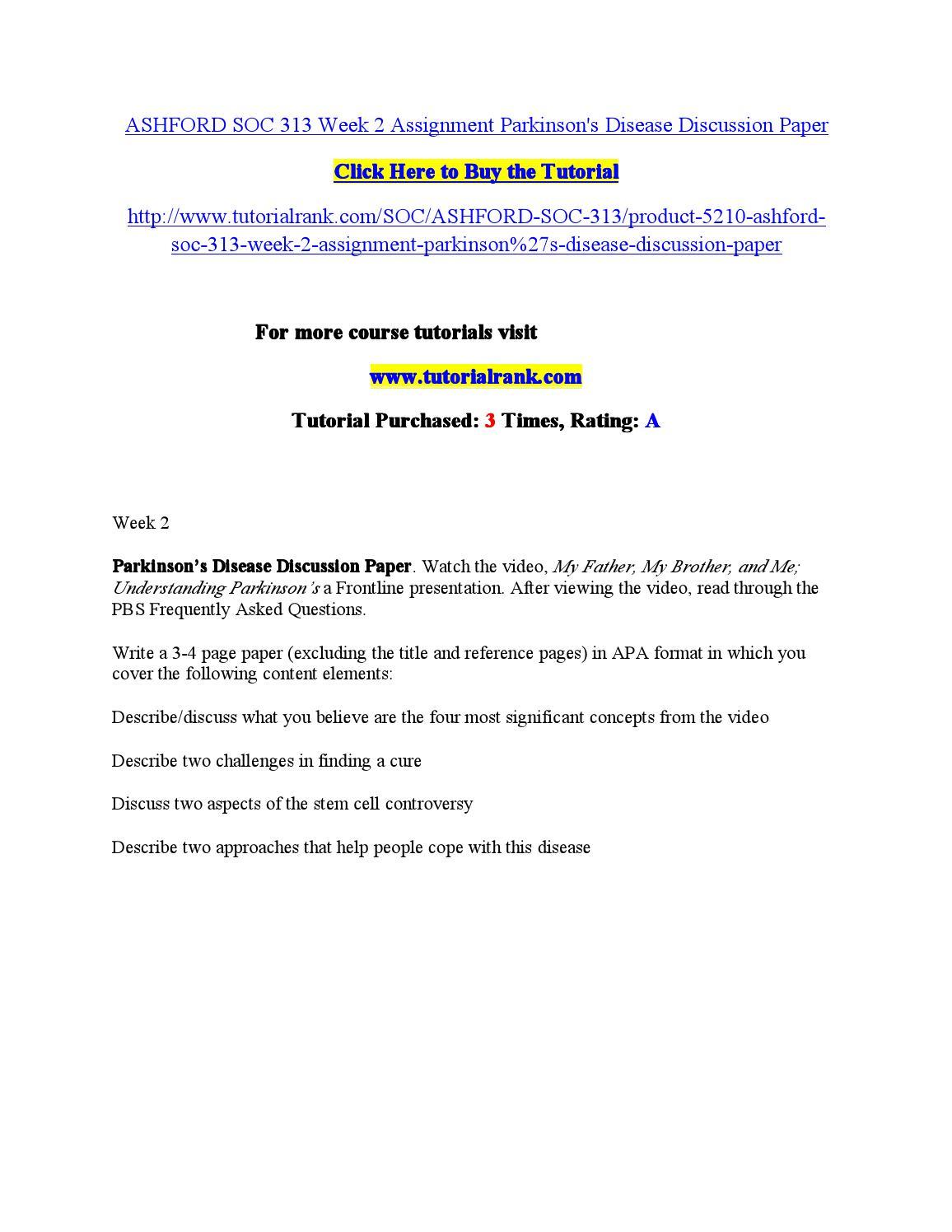 Ashford soc 312 week 1 discussions