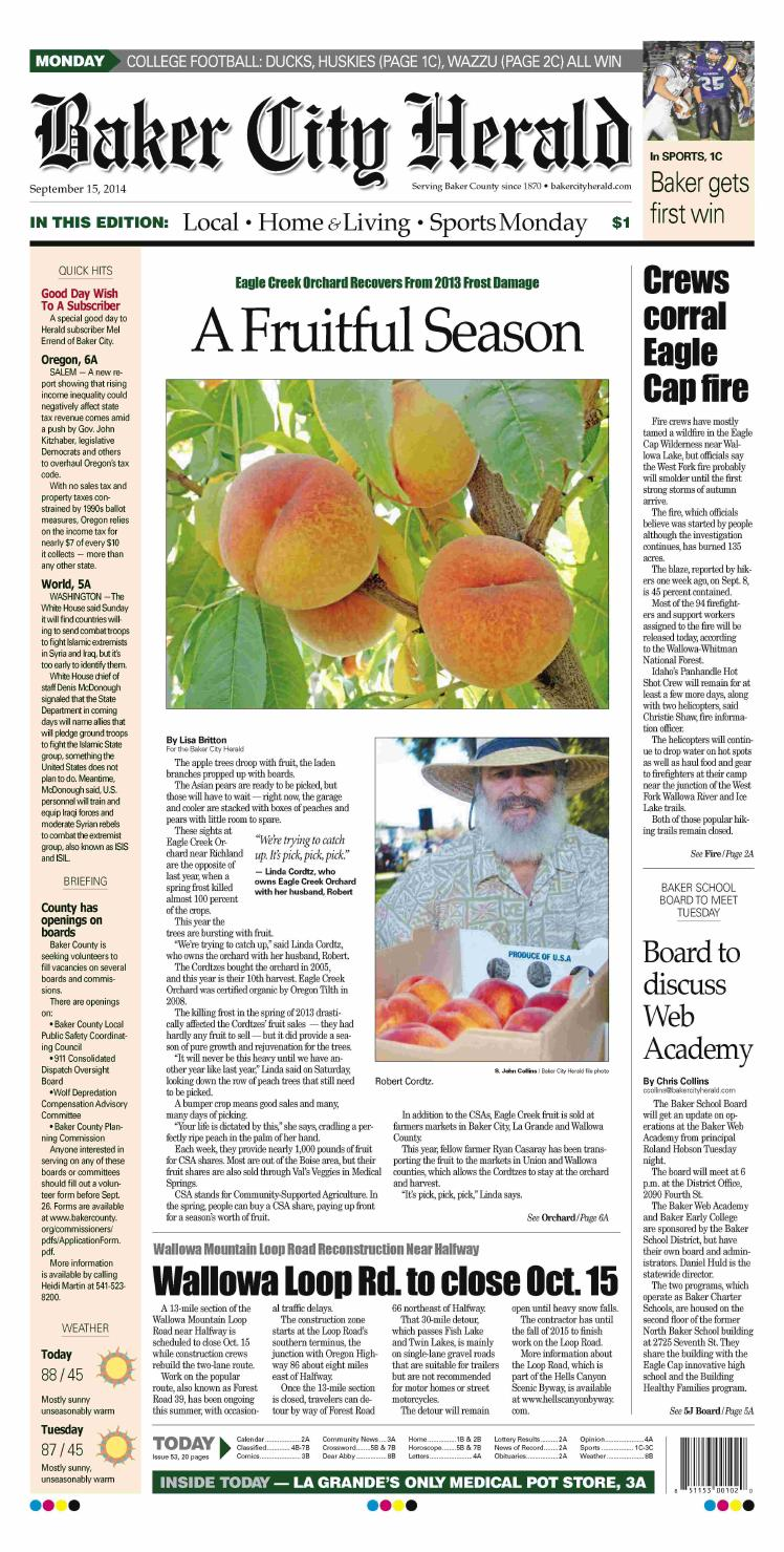 Baker City Herald Daily Paper 09-15-14 by NorthEast Oregon