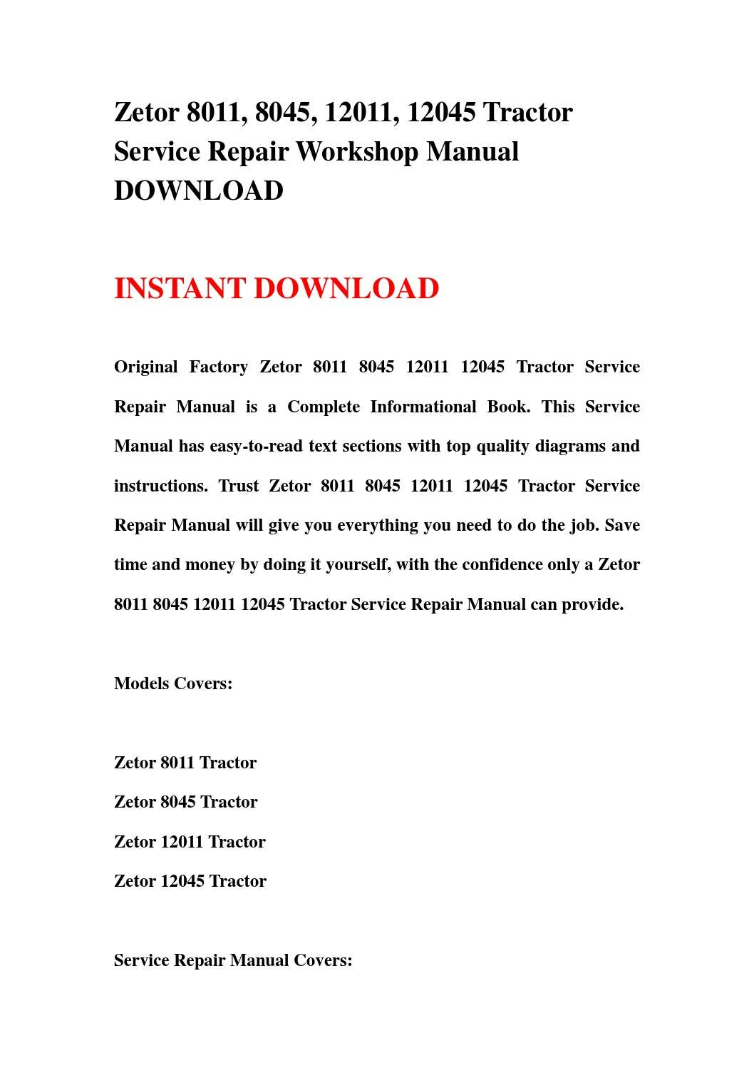 Zetor 8011, 8045, 12011, 12045 tractor service repair workshop manual  download by jfgsehfnn - issuu