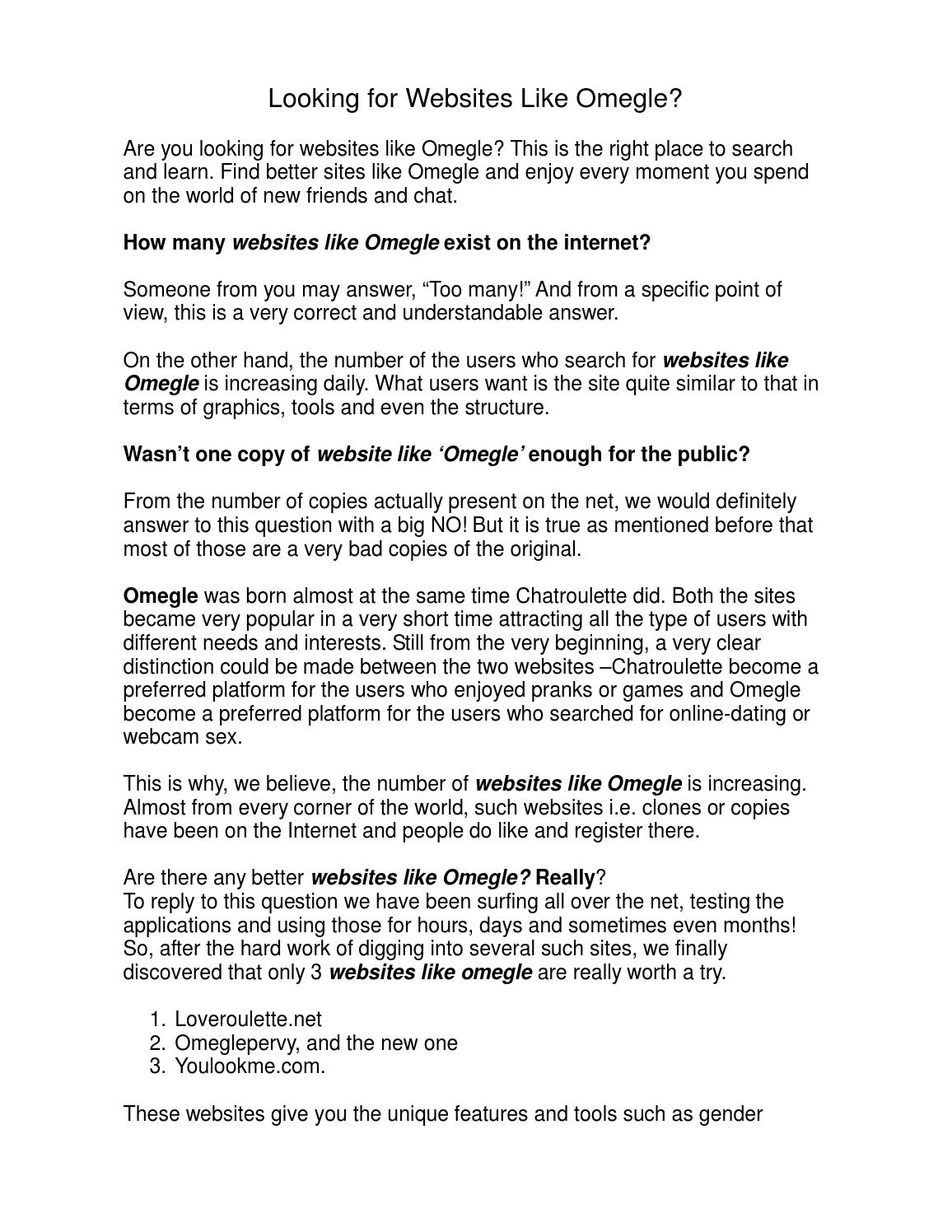 Sites like omegle with interests