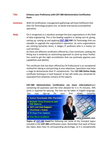 Cat 380 certification score by CindyLee - issuu