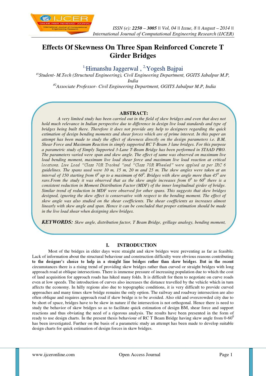 Effects Of Skewness On Three Span Reinforced Concrete T