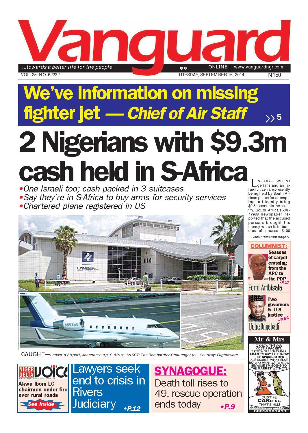2 Nigerians With 9 3m Cash Held In S Africa By Vanguard Media  # Pose Tele En Boi