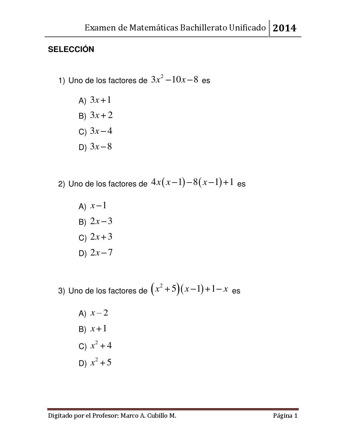 Examen mate 02 2014 unificado by Marco Antonio Cubillo Murray - issuu