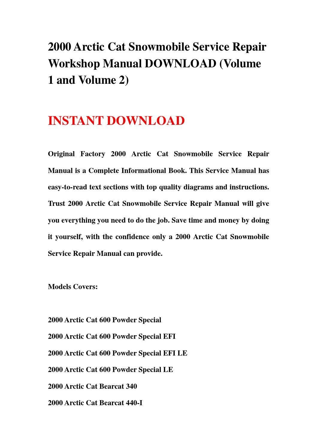 2000 Arctic Cat Snowmobile Service Repair Workshop Manual