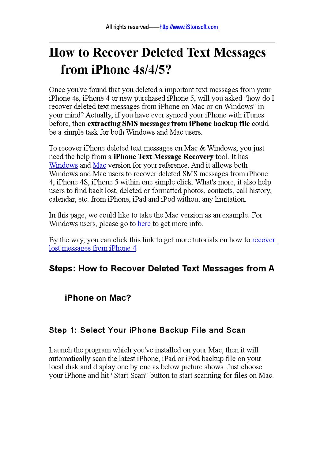 How To Recover Deleted Text Messages From Iphone 5 By