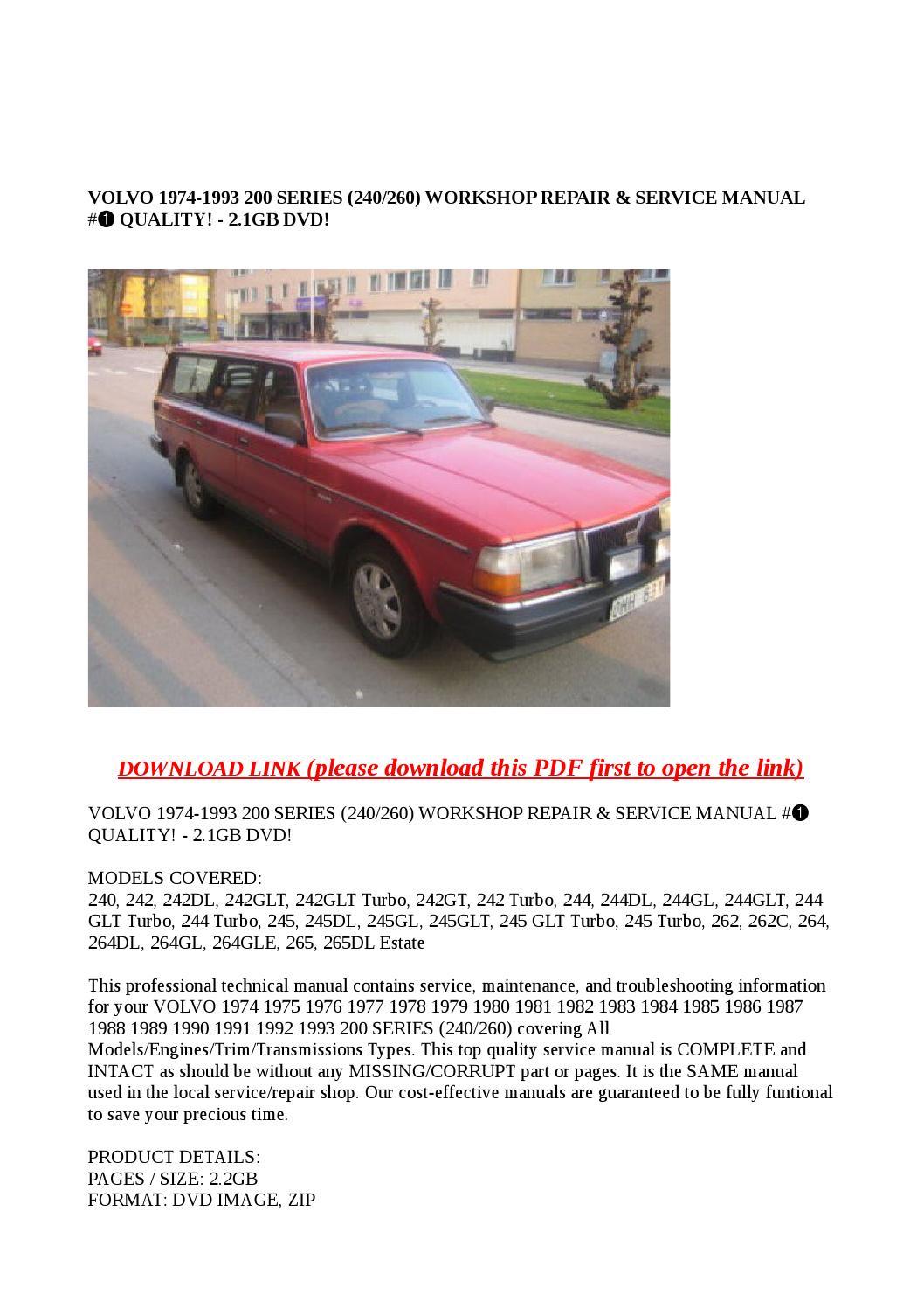 Volvo 1974 1993 200 Series  240260  Workshop Repair