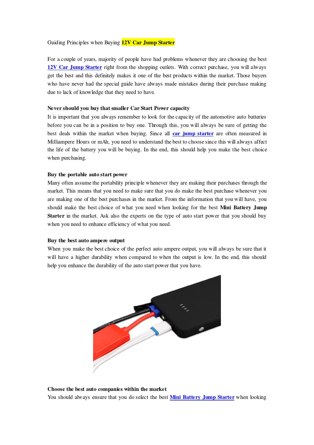 Guiding Principles When Buying 12v Car Jump Starter Newnow Com By Ni Start Diagram Newer Issuu