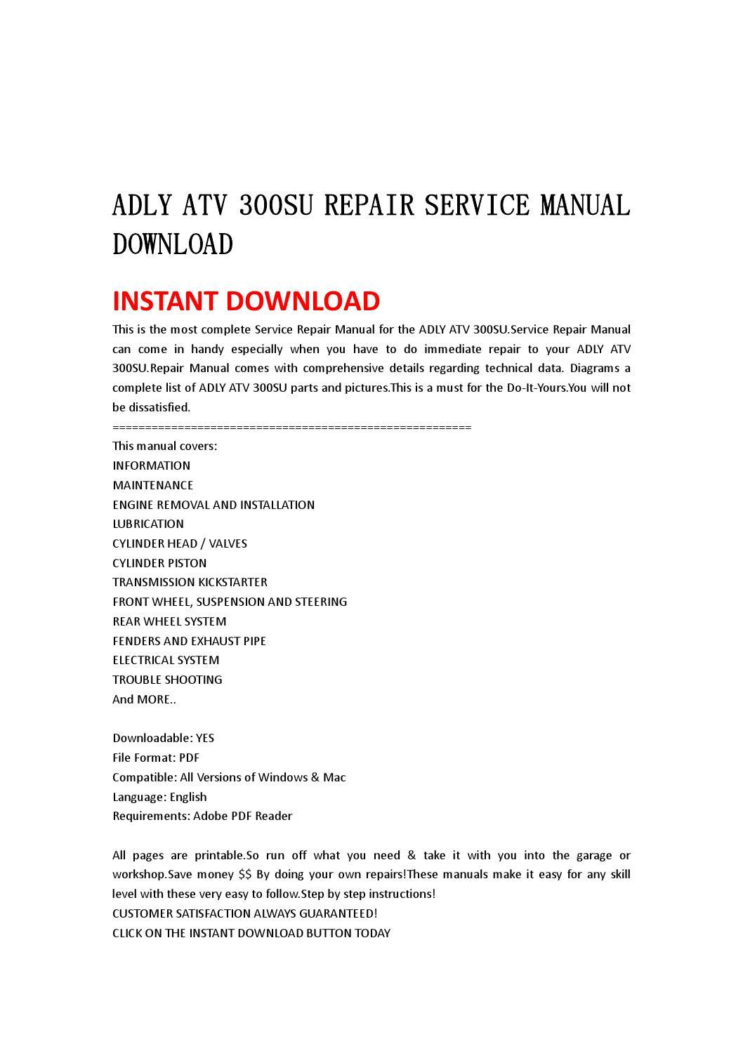 Adly atv 300su repair service manual download by jjhfnnsnen - issuu