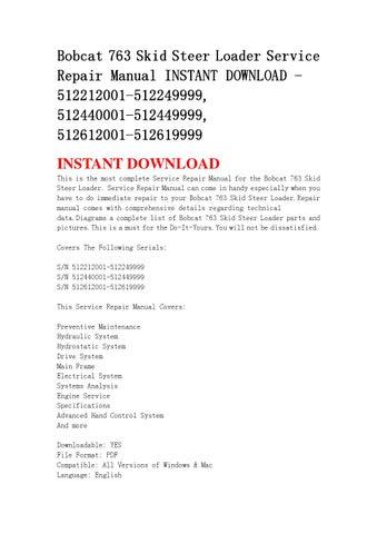 Bobcat 763 G-Series Skid-Steer Loader Service Manual