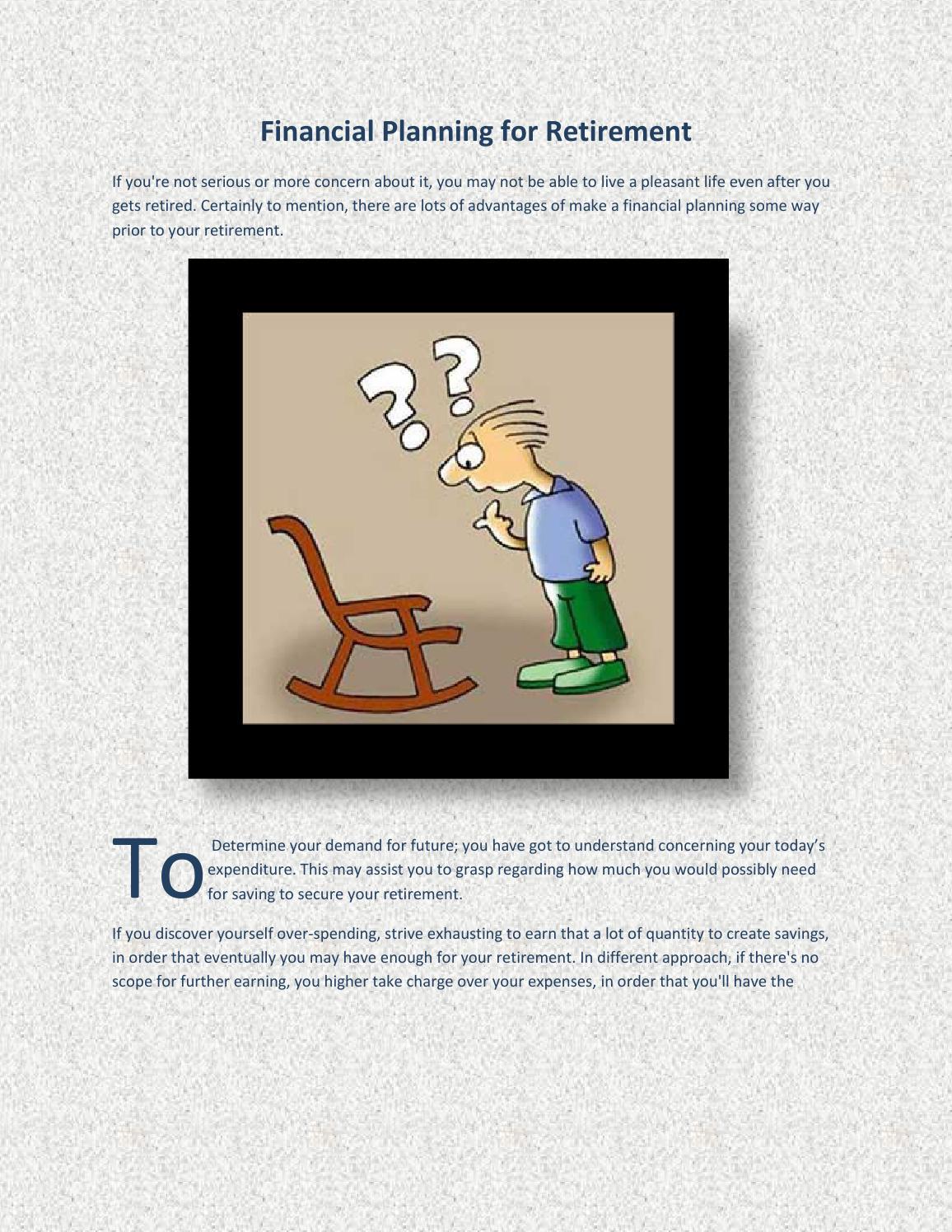 Financial Planning for Retirement by Joelharrisonau - issuu