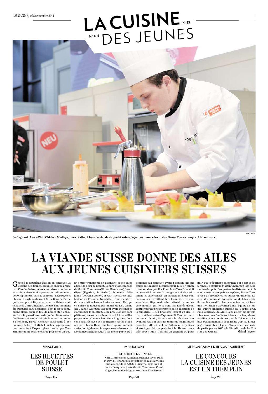 Cahier sp cial la cuisine des jeunes 2014 by hotellerie gastronomie verlag issuu - Commis de cuisine suisse ...