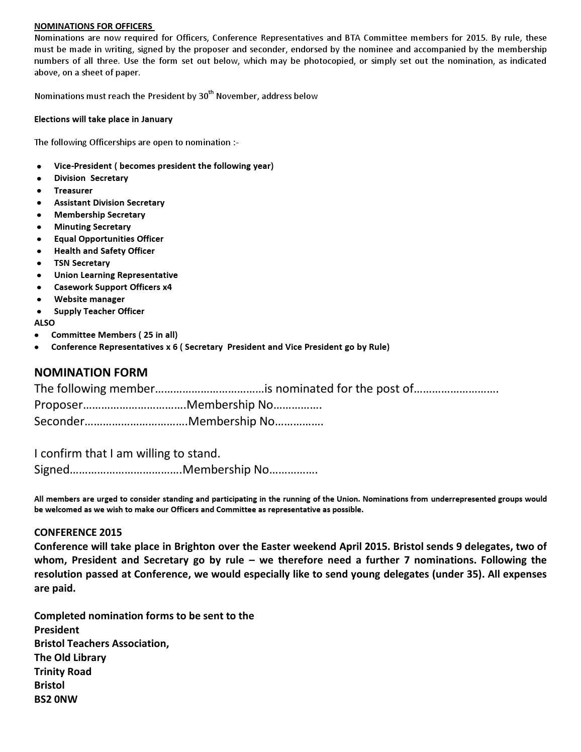Nomination form for bta officers 2015 by marjorie McCartney - issuu