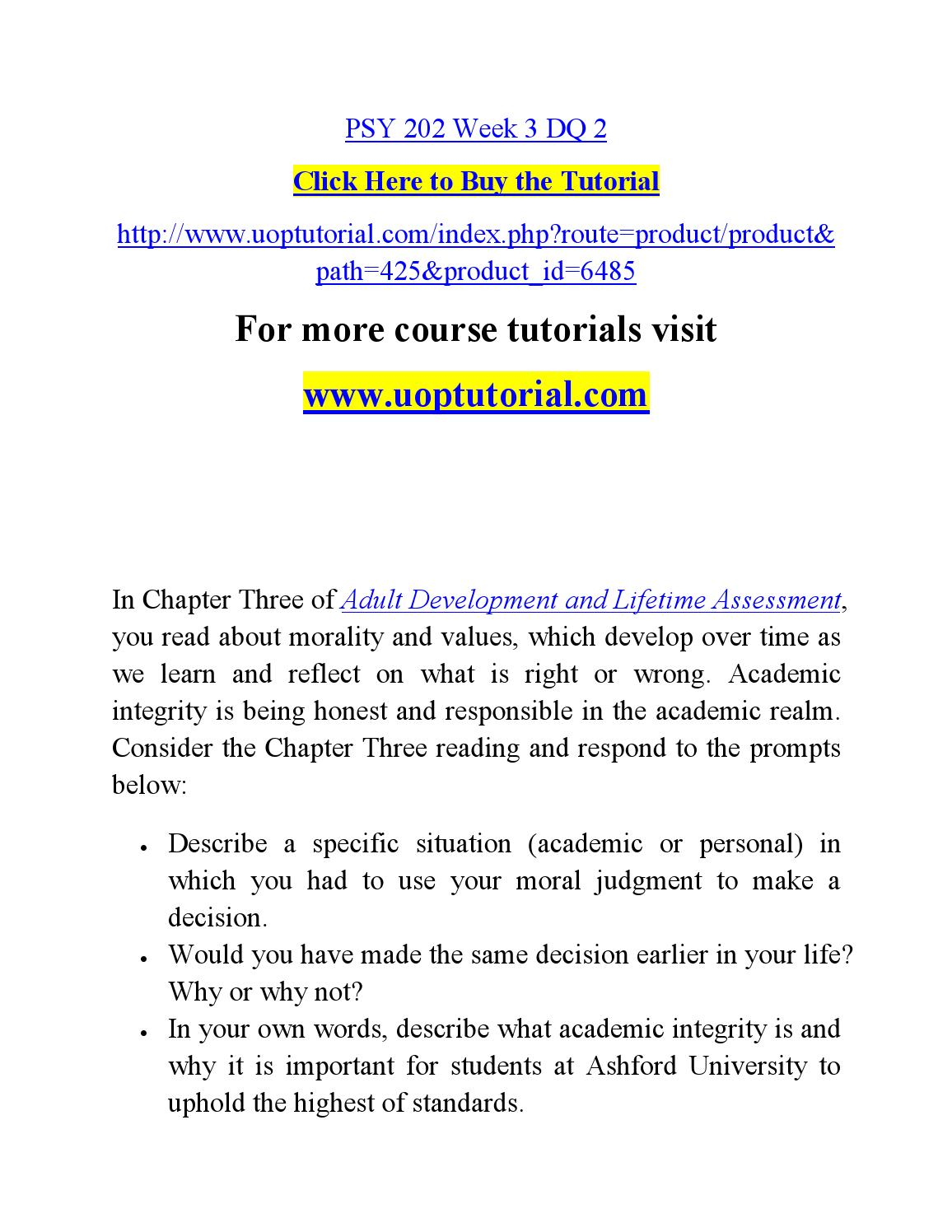adult development and life assessment