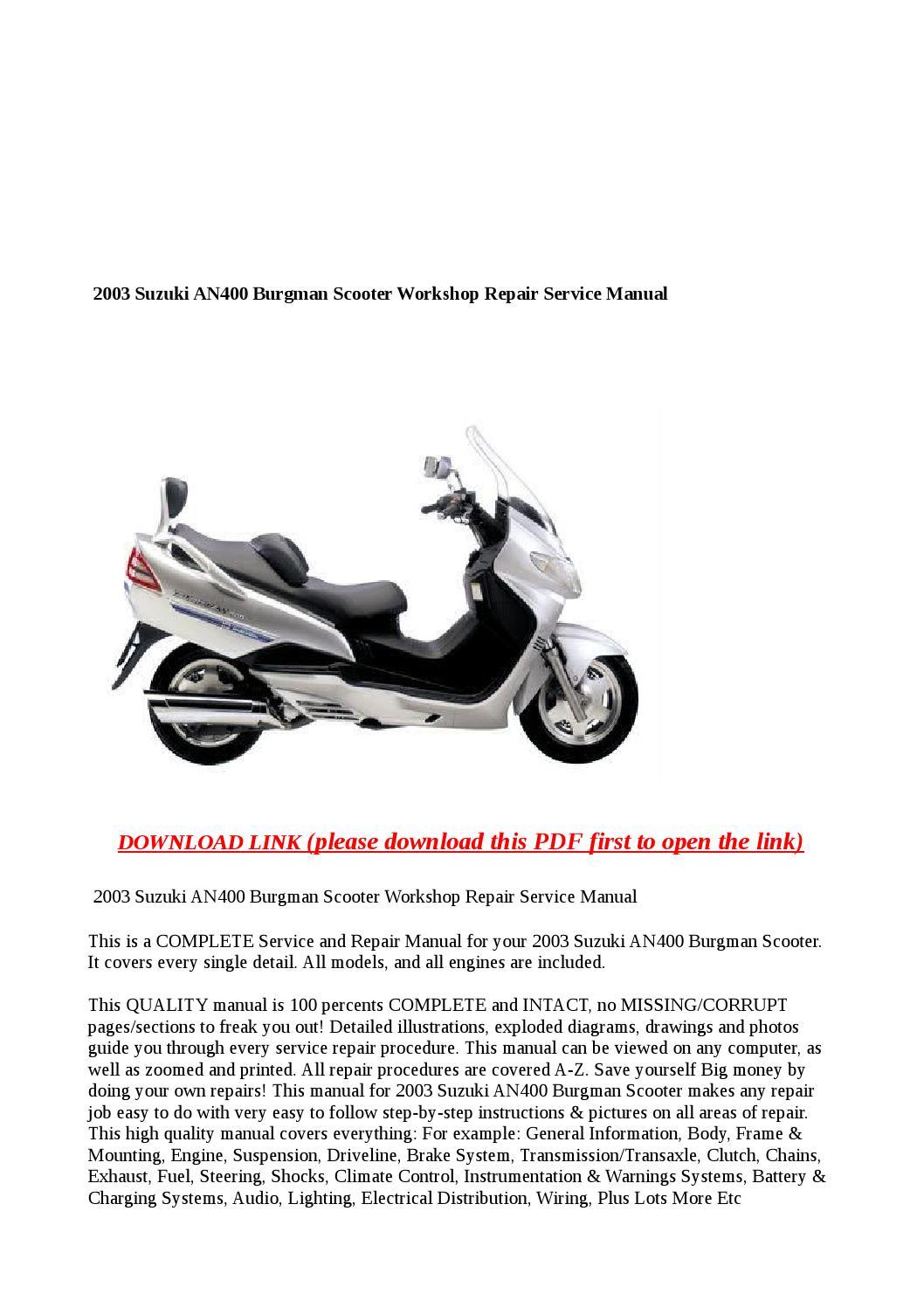 2003 Suzuki An400 Burgman Scooter Workshop Repair Service Manual By Greace Clark