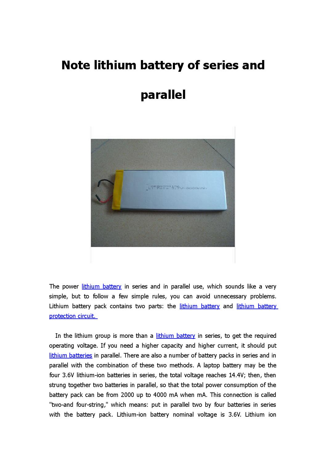 Simple Series And Parallel Circuits Note Lithium Battery Of By Gebattery Benny Issuu