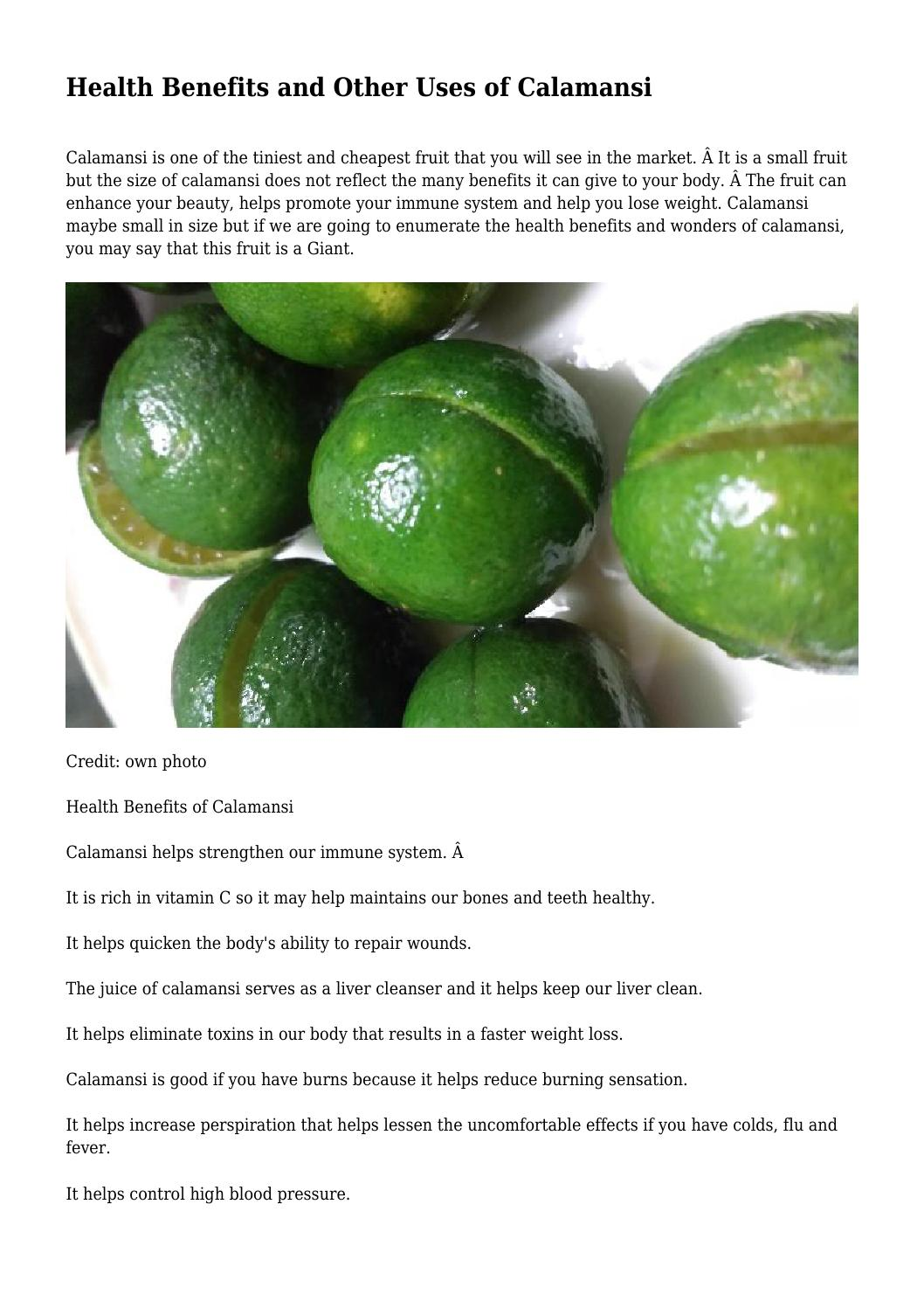 Health Benefits And Other Uses Of Calamansi By