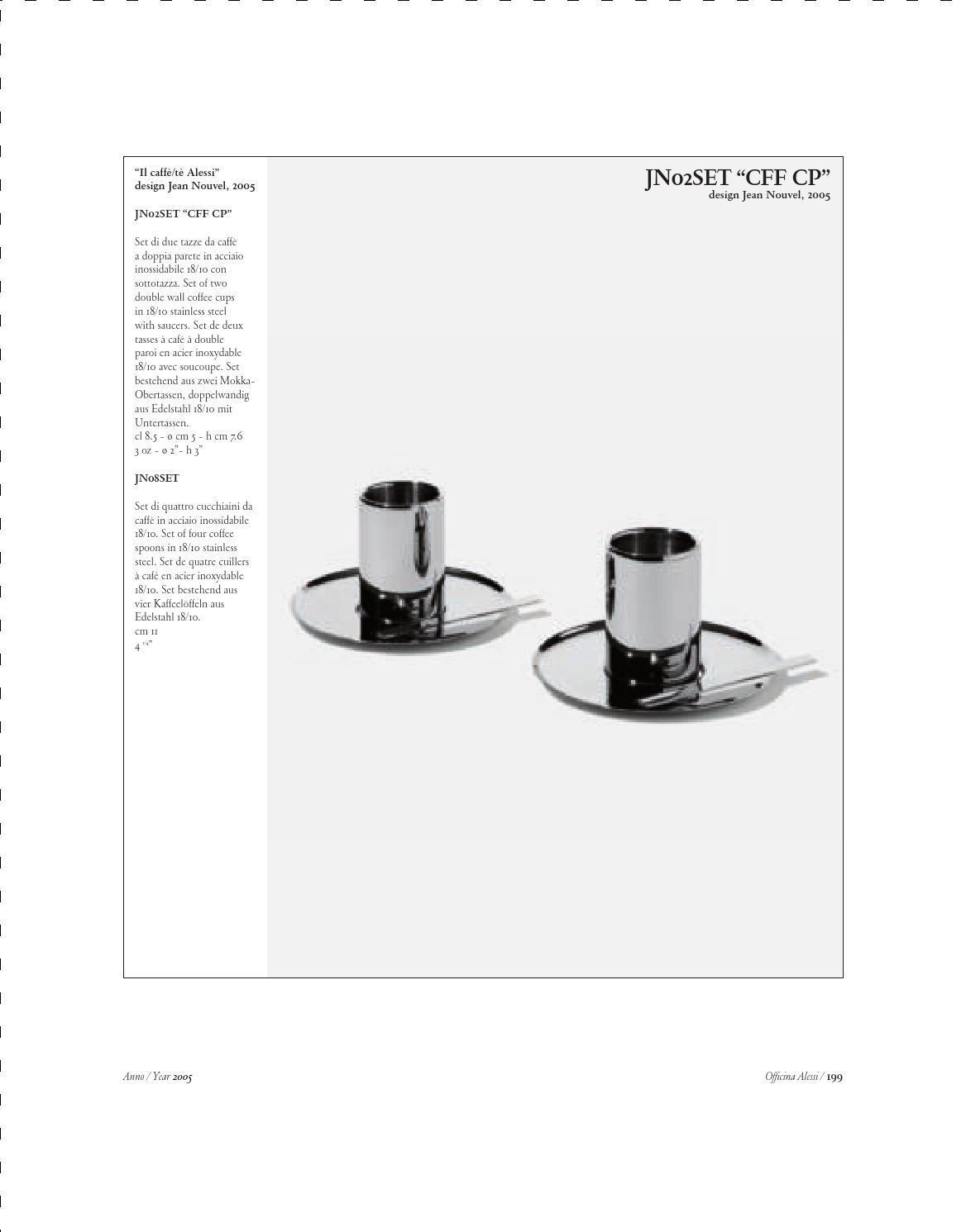 Alessi Officina JN02SET CFF CP Set di Due Tazze da caff/è con Sottotazza Acciaio Inossidabile 18//10
