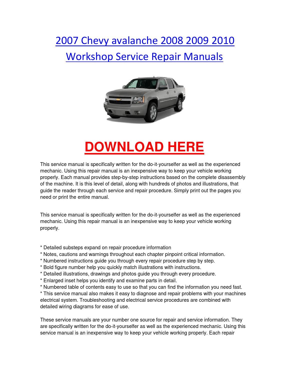 2007 Chevy Avalanche 2008 2009 2010 Workshop Service