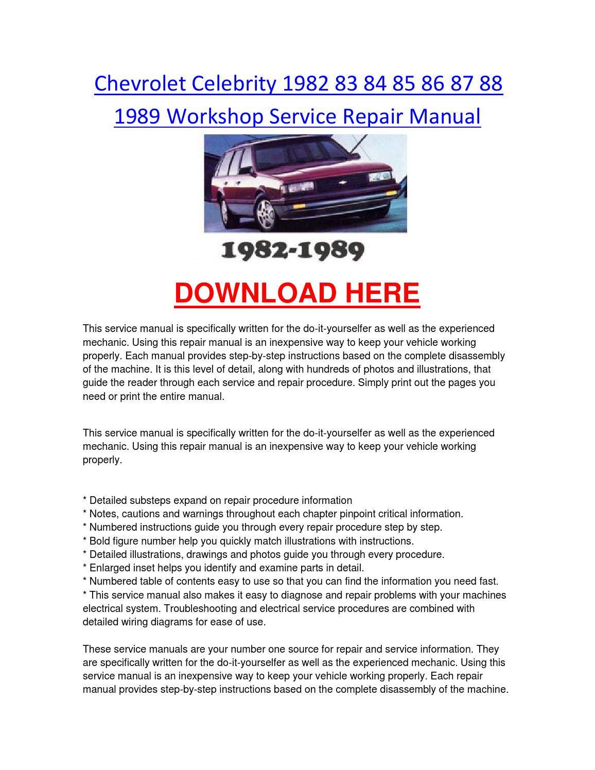 Chevrolet celebrity 1982 83 84 85 86 87 88 1989 workshop service repair  manual by chevroletservice - issuu