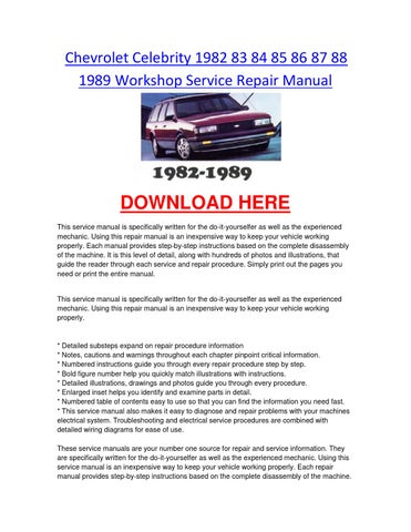 page 1  chevrolet celebrity 1982 83 84 85 86 87 88 1989 workshop service  repair manual