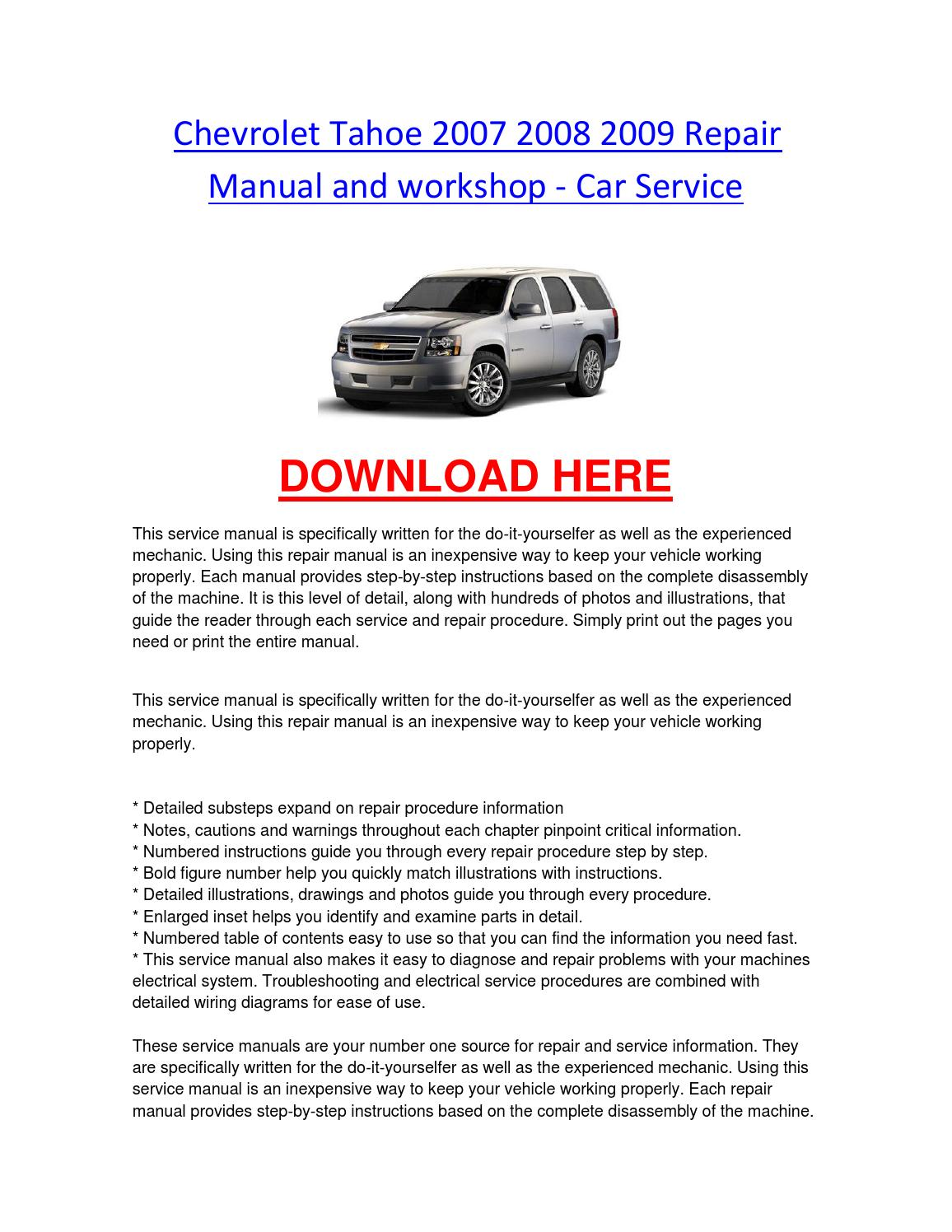 Chevrolet tahoe 2007 2008 2009 repair manual and workshop car service by  chevroletservice - issuu
