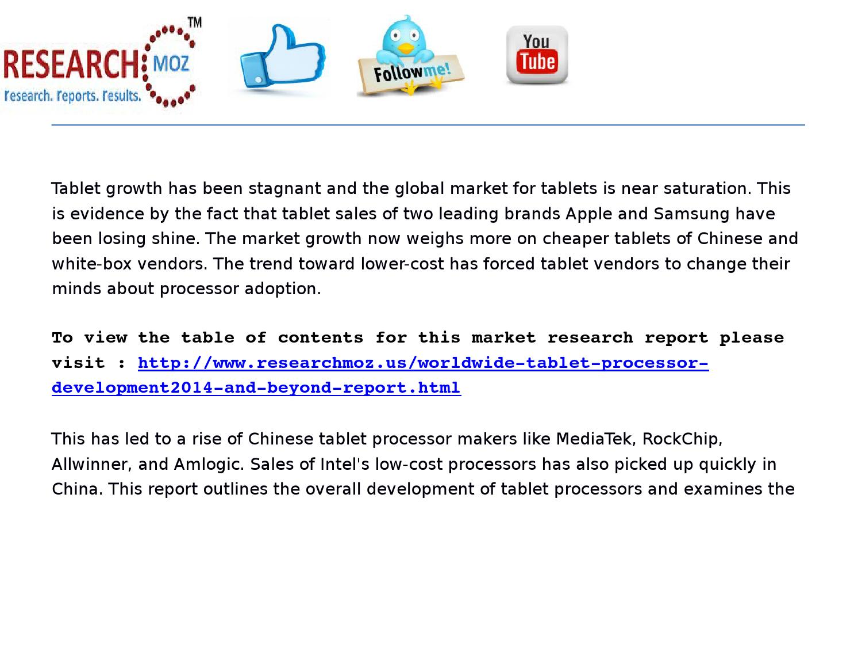 Worldwide tablet processor development market 2014 global market