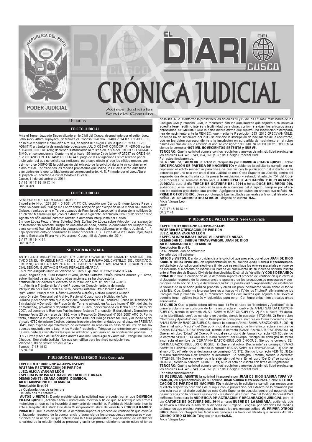 Avisos Judiciales 19 09 14 by El Diario del Cusco - issuu