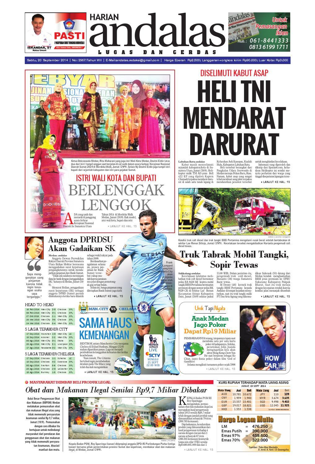 Epaper Andalas Edisi Sabtu 20 September 2014 By Media Issuu Fcenter Lemari Pakaian Wd Hk 1802 Sh Jawa Tengah