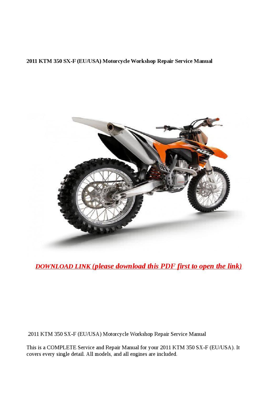 2011 ktm 350 sx f  eu usa  motorcycle workshop repair