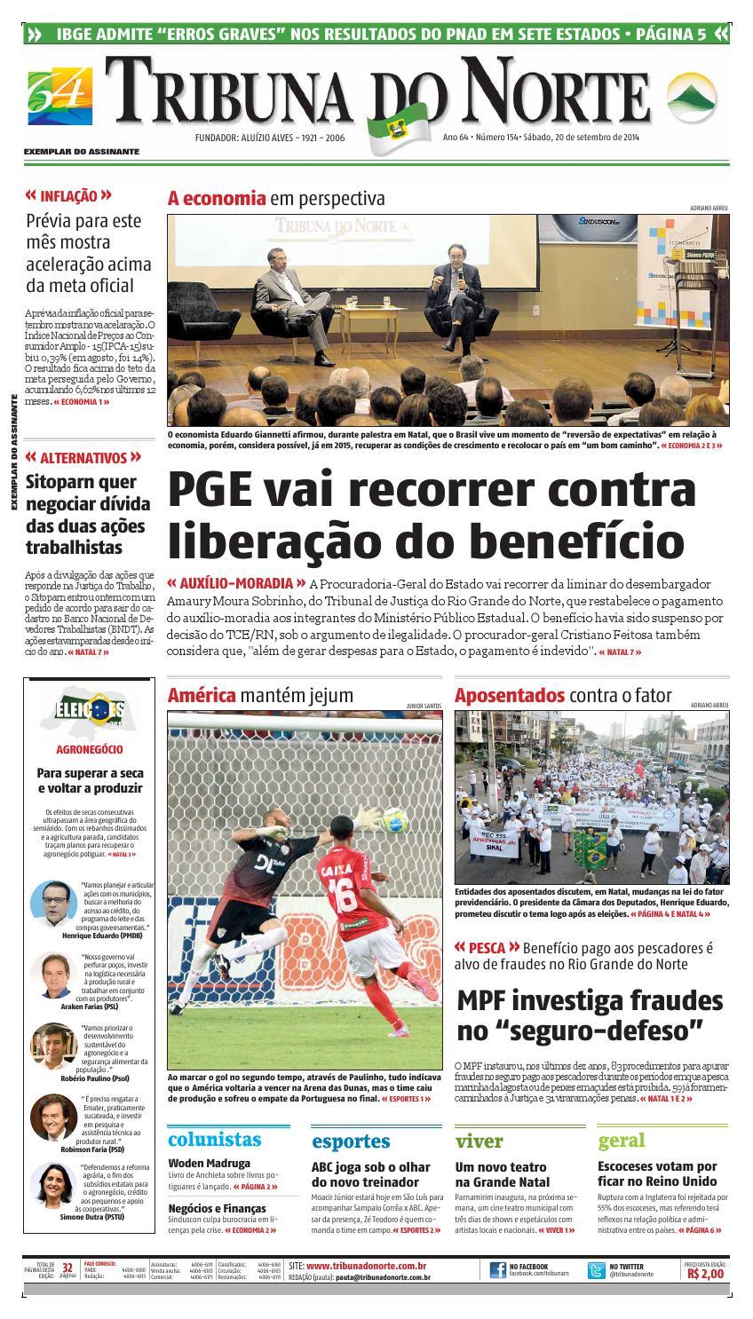 99385faecf Tribuna do Norte - 20 09 2014 by Empresa Jornalística Tribuna do Norte Ltda  - issuu