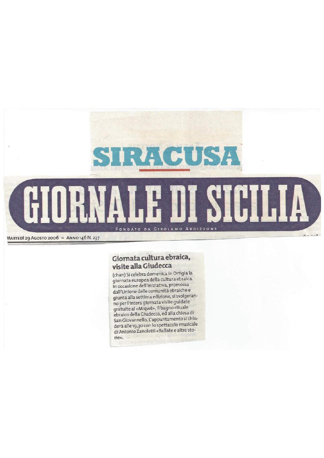 Giornaledisicilia 29 agos 2006 064 33da compressed by bagno ebraico siracusa issuu - Bagno ebraico siracusa ...