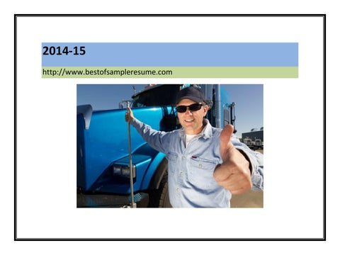Truck driver cover letter sample pdf by Mark Stone - issuu