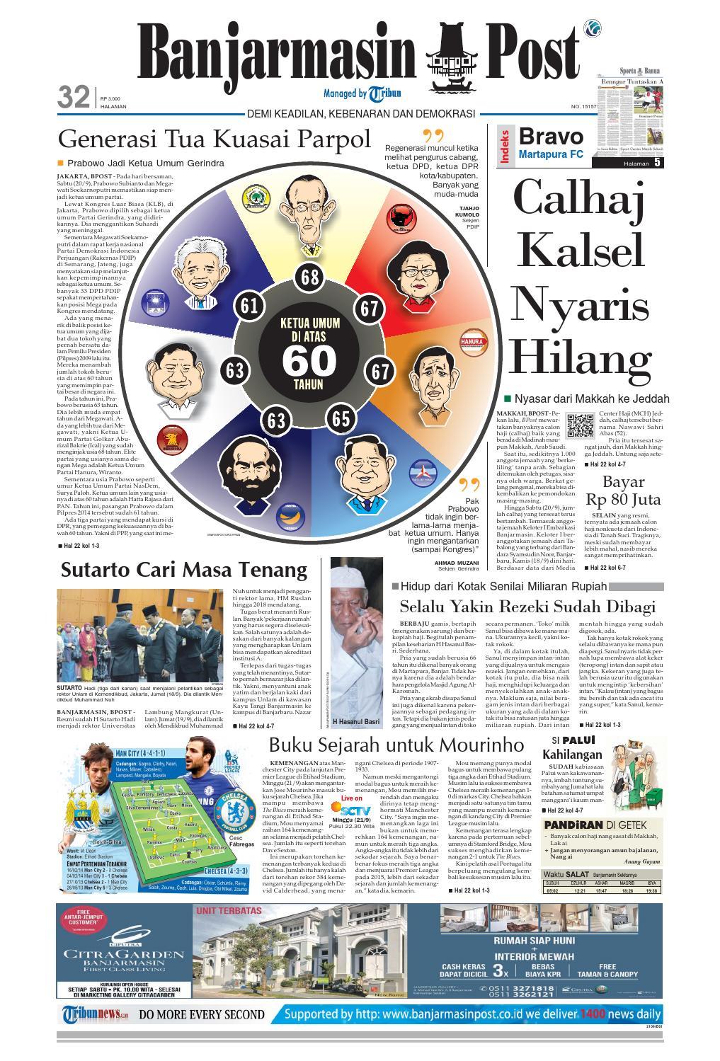 Banjarmasin Post Minggu 21 September 2014 By Issuu Sajadah Aisyah Ukuran 80 X 120 Hijau Muda Masjid