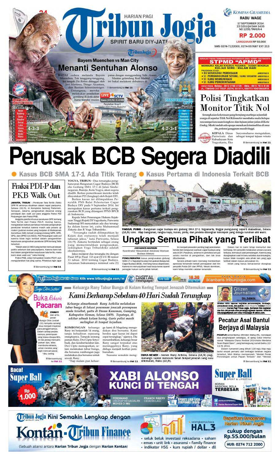 Tribunjogja 17 09 2014 By Tribun Jogja Issuu Regulator Kompor Gas Dengan Metersniaman Awet Dan Efisien