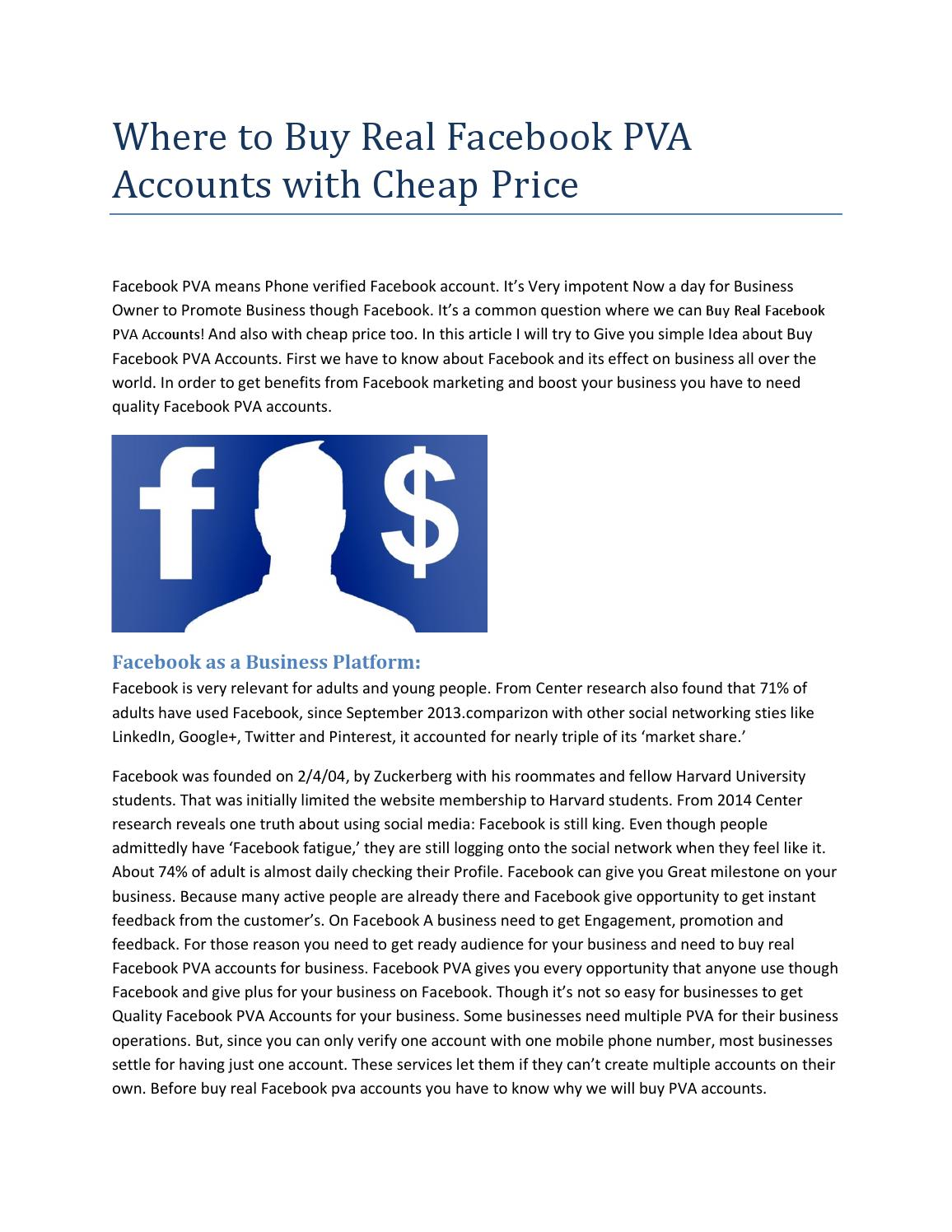Where to buy real facebook pva accounts with cheap price by