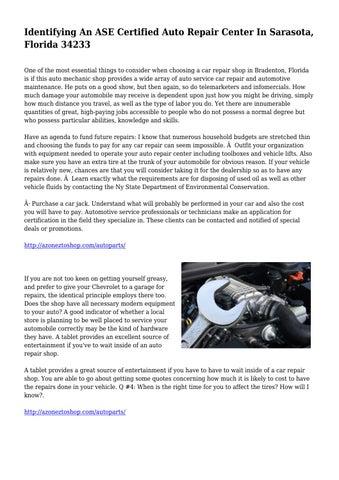 Identifying An ASE Certified Auto Repair Center In Sarasota, Florida ...