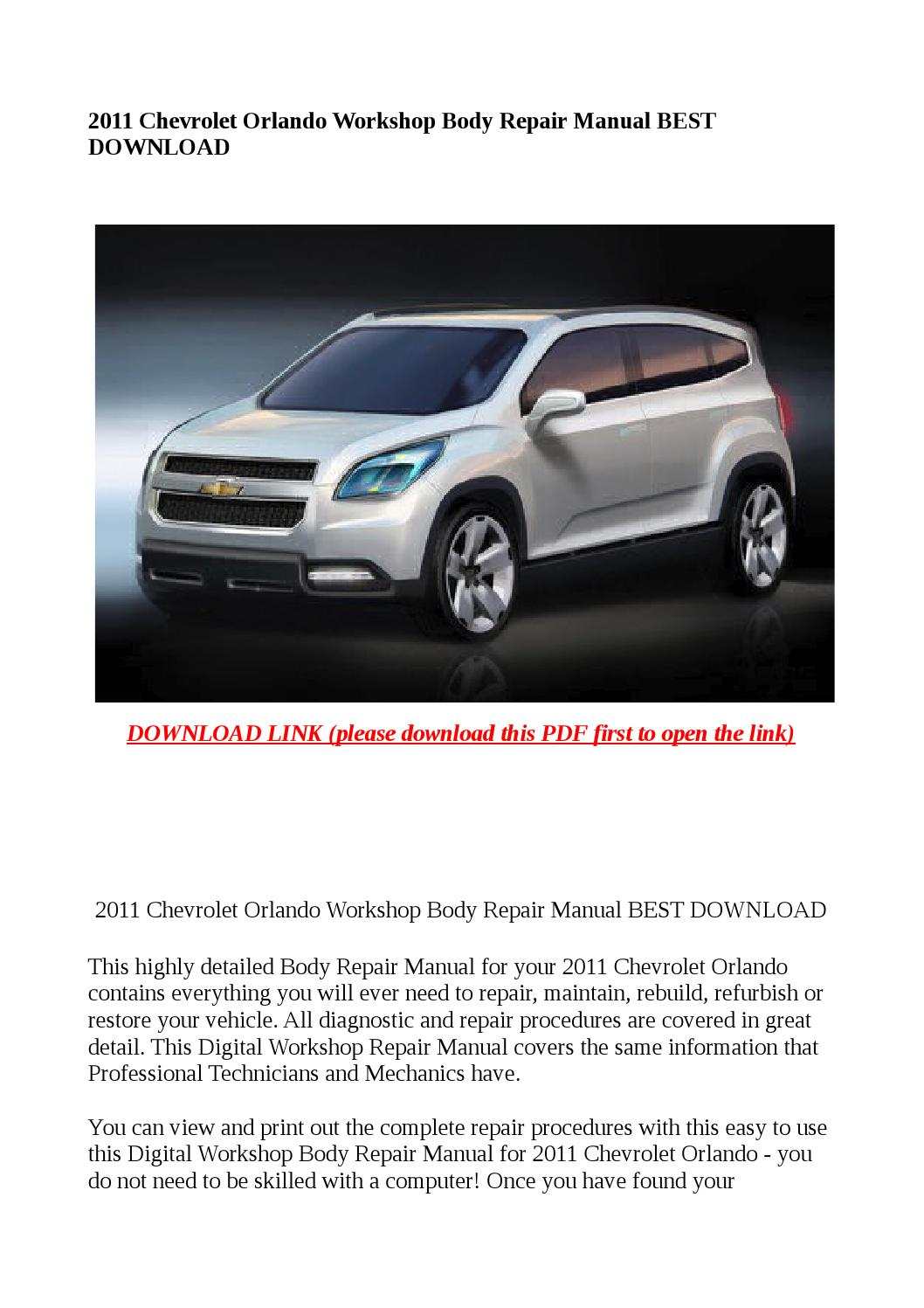 2011 Chevrolet Orlando Workshop Body Repair Manual Best