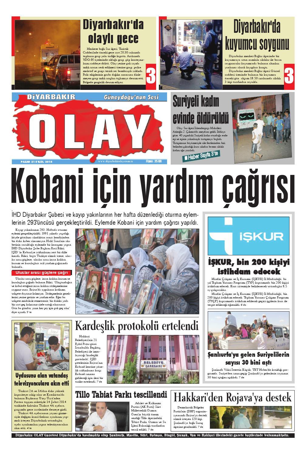 21 09 2014 Gazete Sayfalari By Diyarbakir Olaygazetesi Issuu