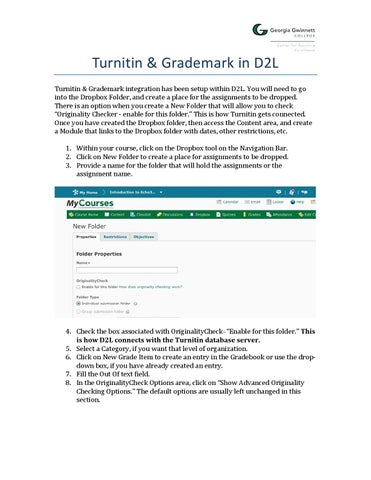 Turnitin With D2l Quickguide By Cte Ggc Issuu