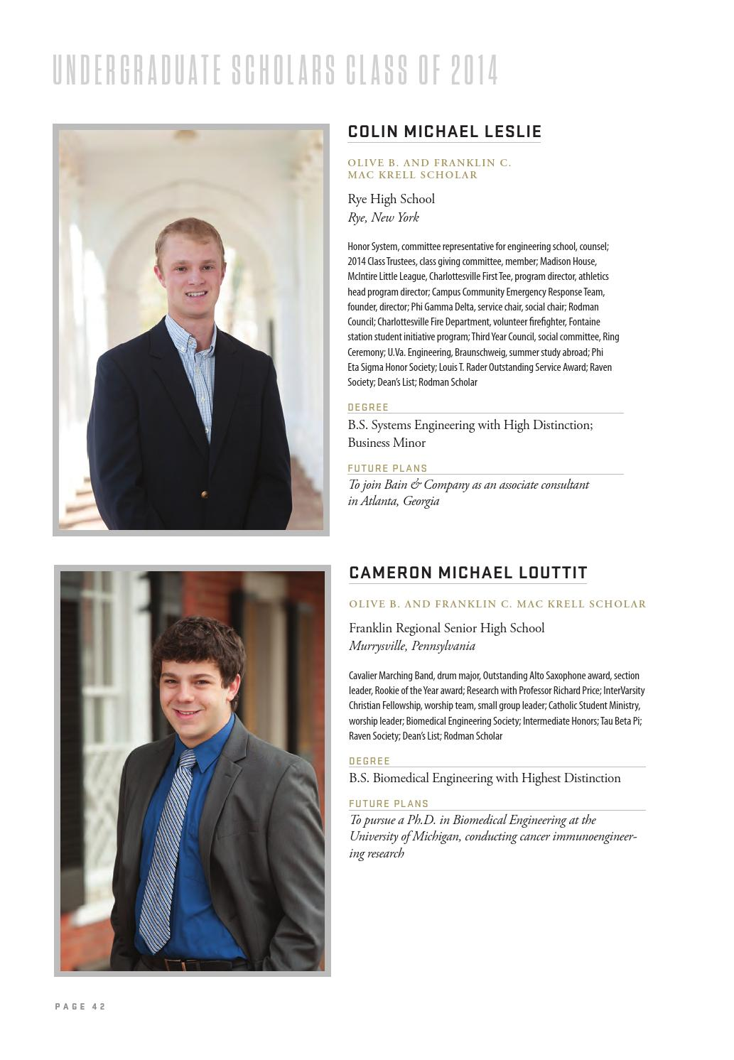 Jefferson Scholars Foundation 2014 Annual Report by